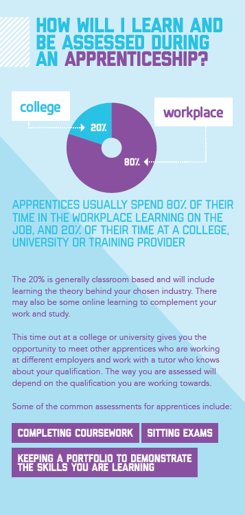 A diagram showing how you may be assessed when completing an apprenticeship.