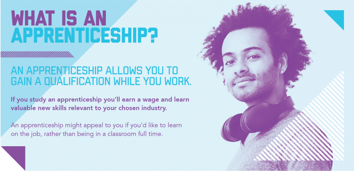 An image to explain what an apprenticeship is.